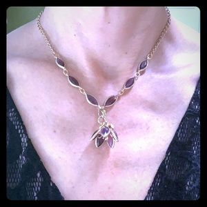 Vintage amethyst /gld. plated necklace.